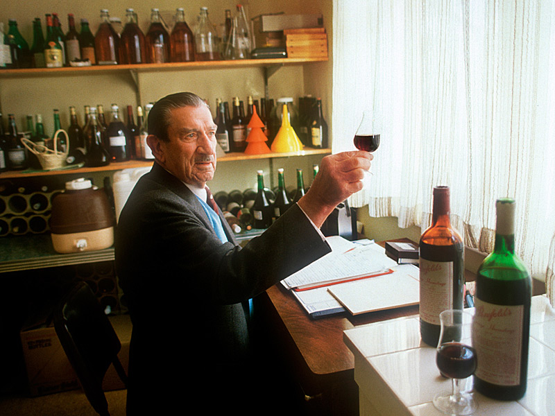Max Schubert in his blending office at Magill. Photo: Milton Wordley