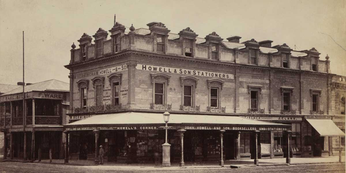 Howell & Son stationers, on the corner of King William and Hindley streets, 1876. Photo: UK National Archives