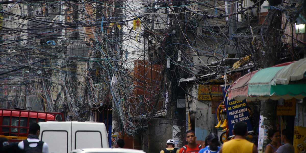 A tangle of powerlines in Brazil. From the film, Pandora's Promise.