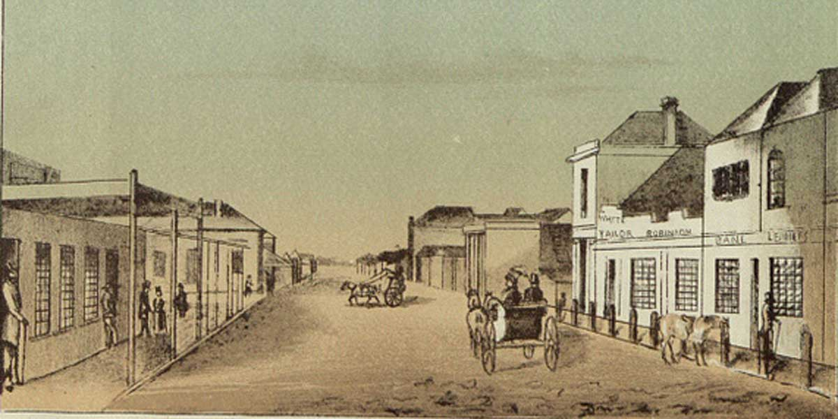 Hindley St, looking west. From a sketch by F. R. Nixon, 1845. Image: UK National Archives