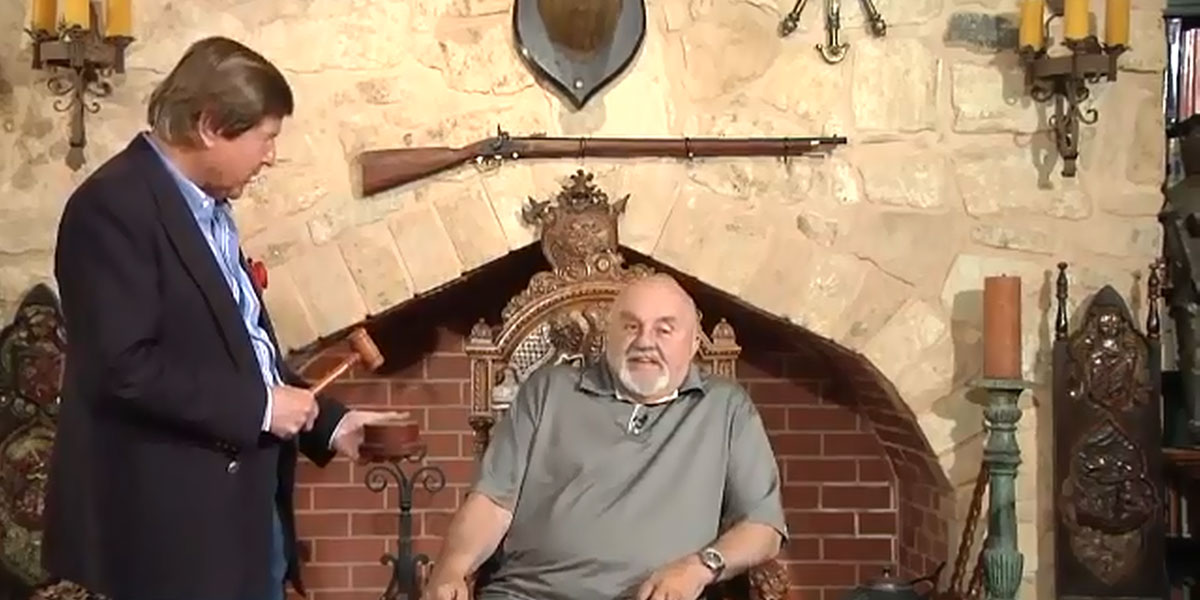 """Jeremy Cordeaux with Big Bob Francis in a screenshot from """"The Court of Public Opinion"""" TV show."""