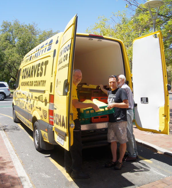 OzHarvest's Alan Colbert with Damien Phillips and David Ellis from Common Ground.