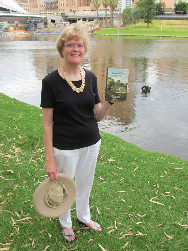 Iola Hack Mathews on the site where her ancestor built the first bridge over the Torrens.