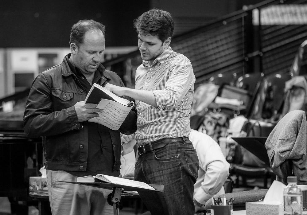 Singer Aldo Di Toro and conductor Nicholas Carter in rehearsals for La Traviata. Photo: DGW Photography
