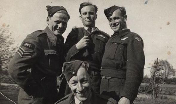 Halifax bomber Aircrew Sgt Arthur Cox, Flt Sgt William Burgum, Flt Sgt Harley Harber and in the front Sgt Donald Hemstock.