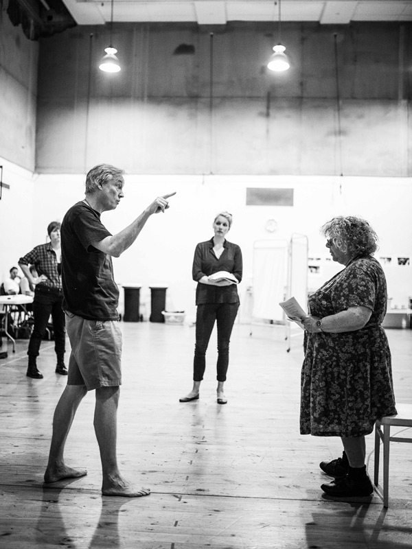 Julian Meyrick with Miriam Margolyes and other cast members in rehearsals for Neighbourhood Watch. Photo: James Hartley