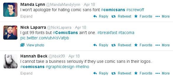 Tweeps unload on Comic Sans