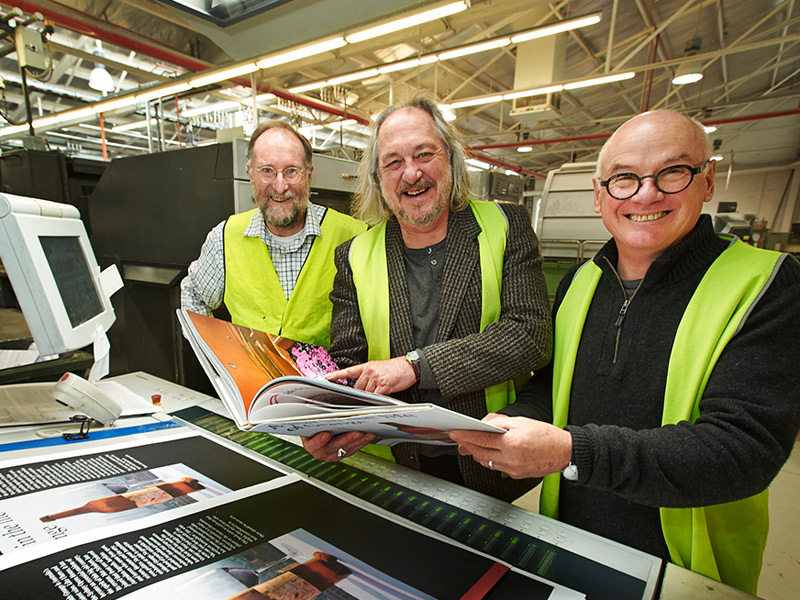 Milton Wordley, Philip White, and designer John Nowland at the Finsbury Green press. Photo: Peter Fisher