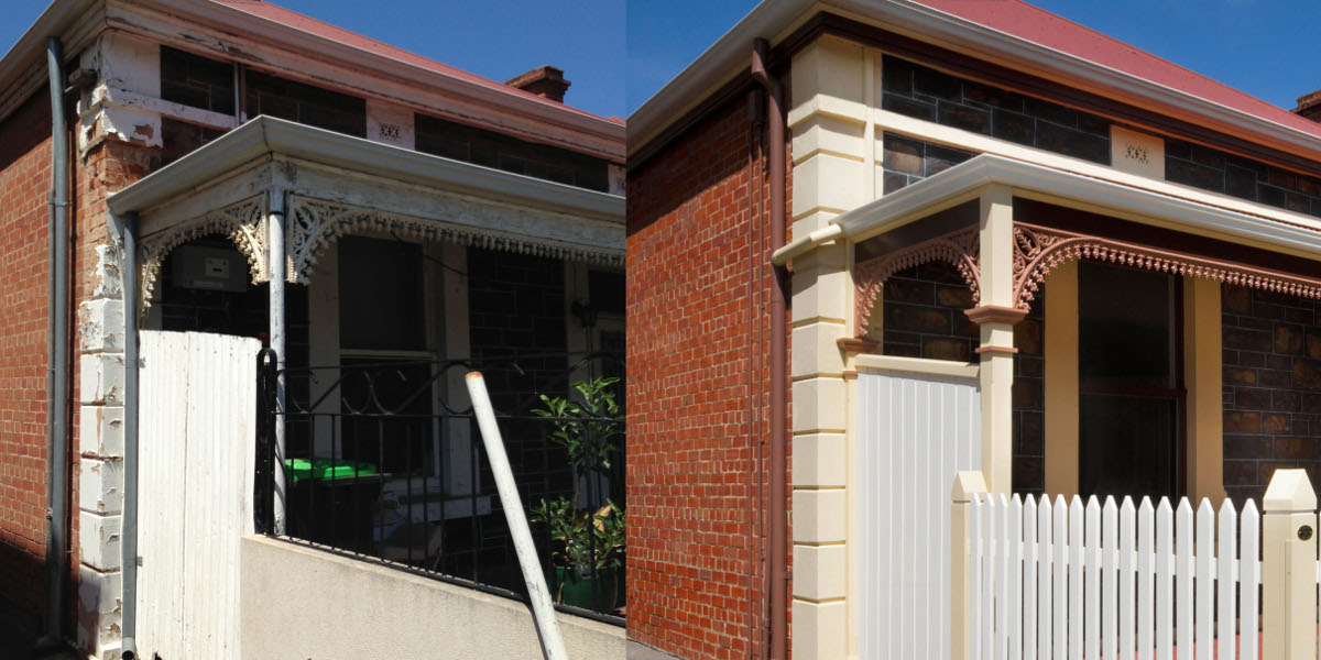 An 1890s cottage on Adelaide's McLaren Street, before and after restoration.