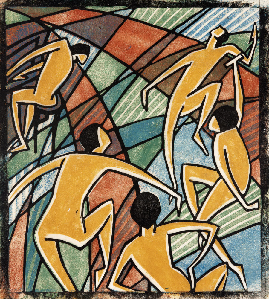 Dorrit Black, Australia, 1891-1951, Music, 1927-28, London or Paris, unnumbered impression, colour linocut on thin cream, oriental laid paper, 24.1 x 21.2 cm, Elder Bequest Fund 1976, Art Gallery of South Australia, Adelaide