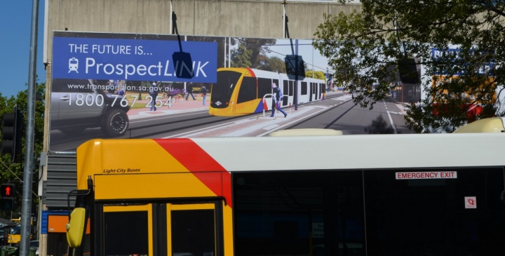 One of the Government's tram billboards.