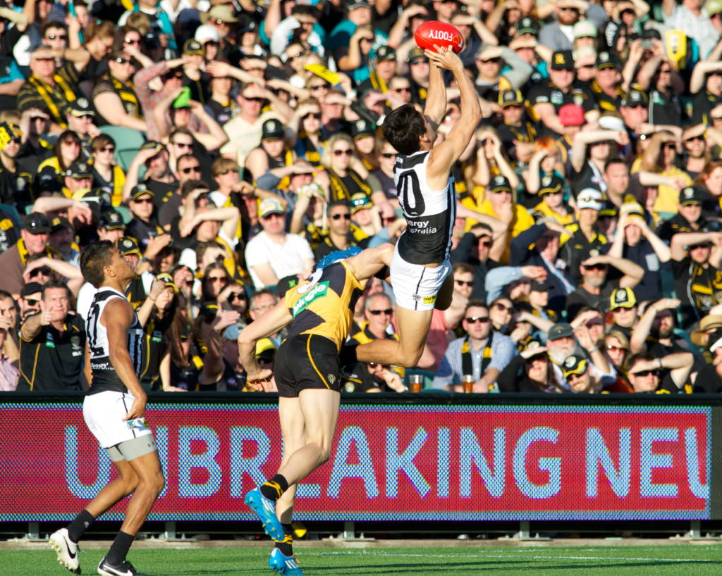 AFL 2014 Season,  AFL, Adelaide Oval, Centimetre Perfect, Port Adelaide, Richmond Tigers, Finals, Elimination Final, Centremetre Perfect, Michael Errey, Adelaide Sports Photography, Adelaide Sports Photographer,