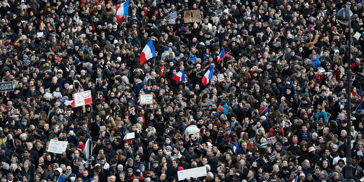A huge crowed gathered at the Place de la Nation in Paris. EPA image