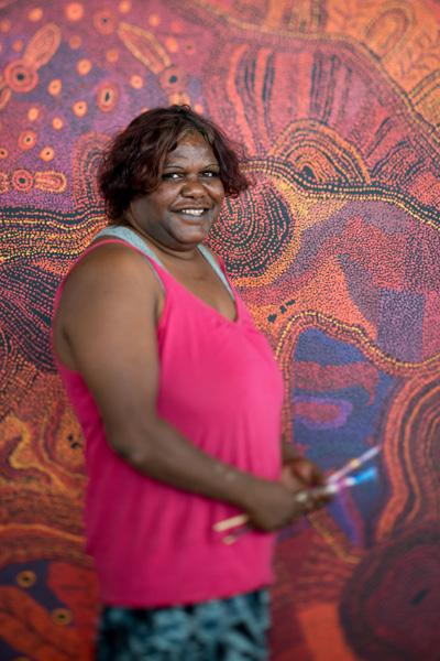 Tjungkara Ken at Tjala Arts in Amata. Photo: John Montesi, 2015