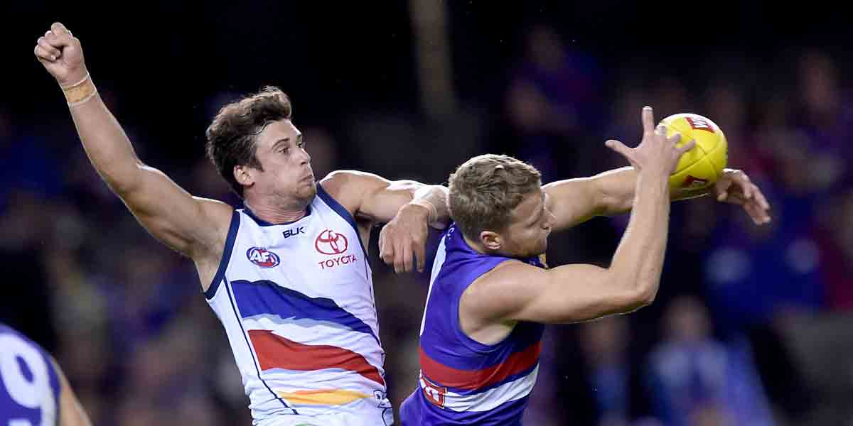 The Bulldogs' Jake Stringer on his way to a severe case of leather poisoning, while Kyle Hartigan punches the air. AAP photo