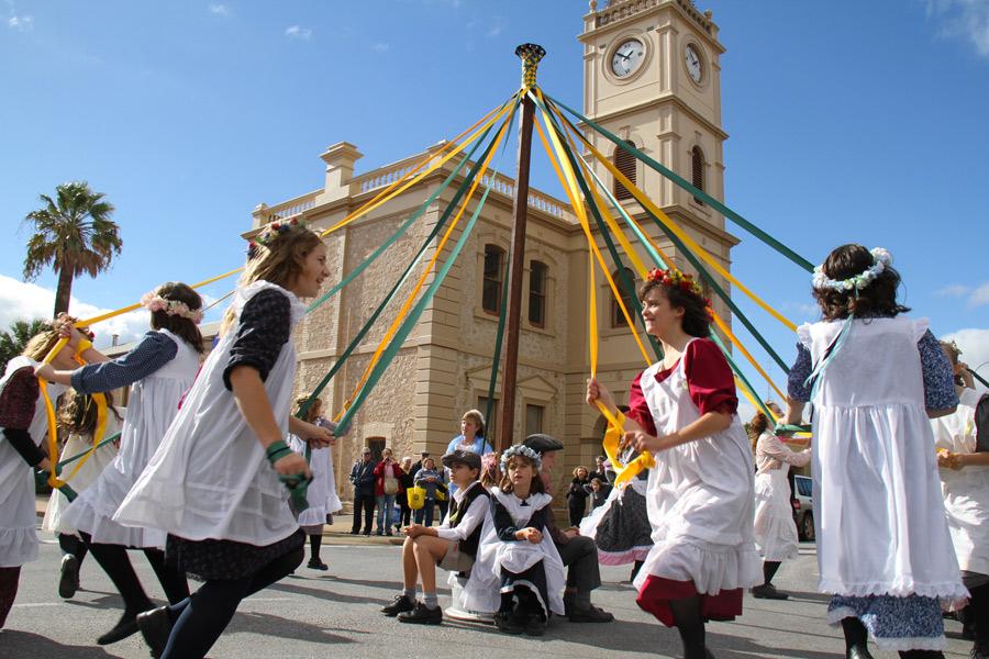 Maypole dancing at the annual Cornish festival. Photo: Kernewek Lowender