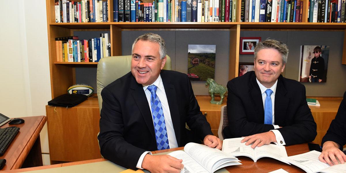 Former Treasurer Joe Hockey (left) with Finance Minister Mathias Cormann.