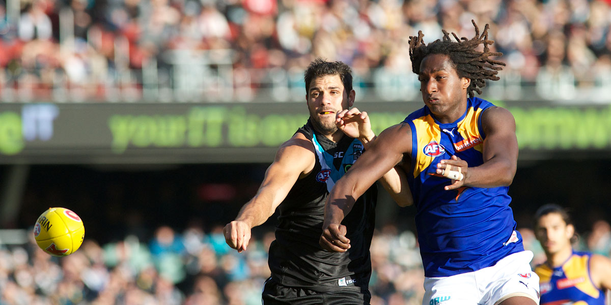 Nic Naitanui (left) had the better of Port's Paddy Ryder (pictured) and fellow ruckman Matthew Lobbe. Photo: Michael Errey/InDaily