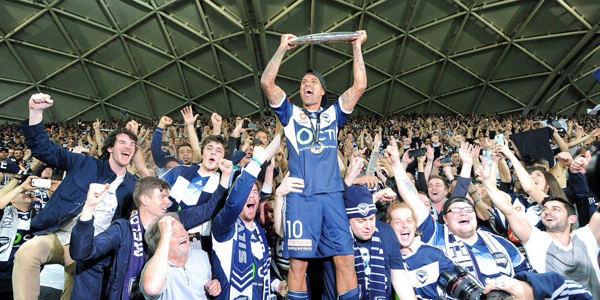 Melbourne Victory veteran Archie Thompson celebrates with fans. AAP photo