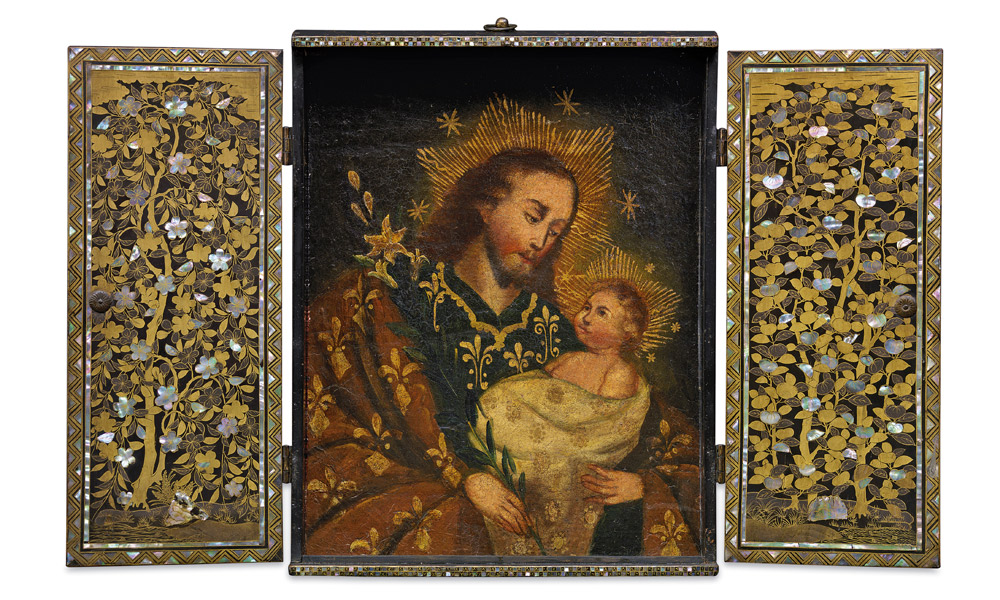 Japan, Portable altarpiece, with devotional image, late 16th–early 17th centuries, wood, urushi lacquer, gold lacquer, mother-of-pearl and gilt copper (fittings), pigment on wood (painting), 37.5 x 29.2 x 5.1 cm; Museu do Oriente/Fundação Oriente, Lisbon, Portugal/