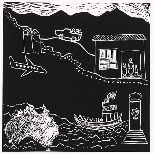 Saeed Kazin Mosawie, Migration, 2003, linocut printm, 30 x 30cm. Photo: Pictures in My Heart