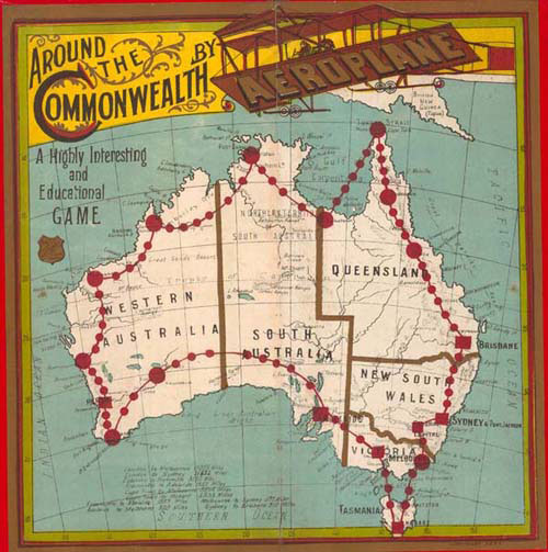 A 1911 board game showing South Australia stretching to the northern coastline. Image: State Library of South Australia