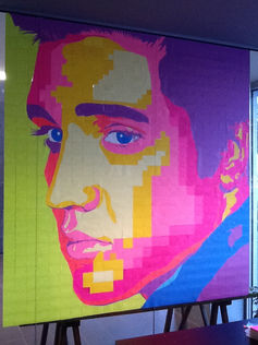 Theofania – Elvis Pixel Post-it Note Artwork, 2014. Post-it note stickers, in the window of the Argo Café Adelaide.