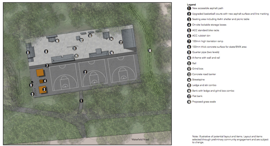 The full concept design for the temporary skate park. (click for larger image)