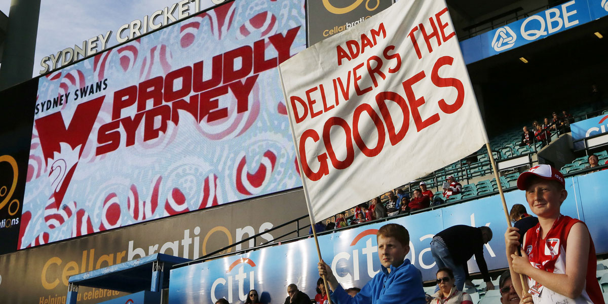 Sydney fans show their support for Adam Goodes before Saturday's game against Adelaide. AAP image