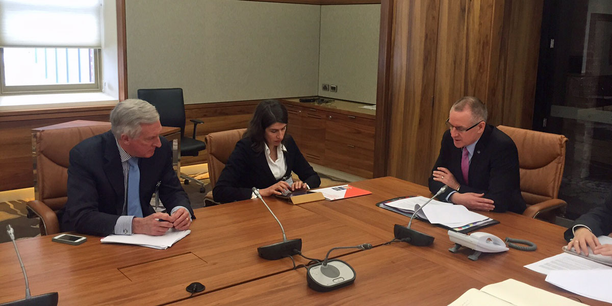 John Hewson (left) and Anna Skarbek meeting with Premier Jay Weatherill today. Photo supplied