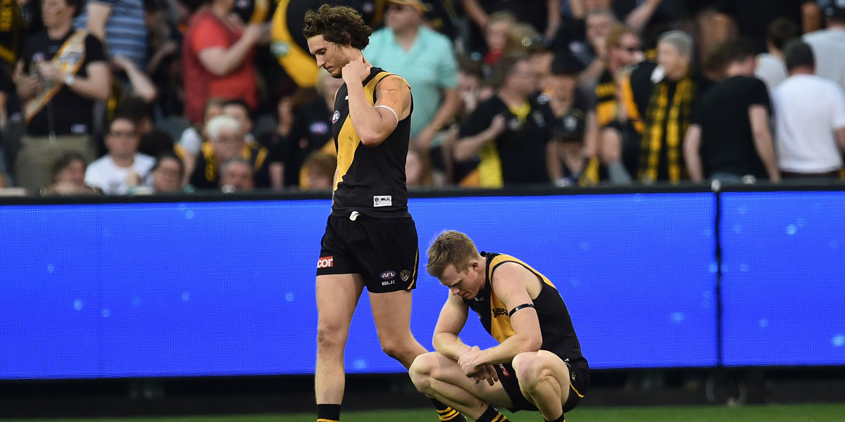 Ty Vickery and Jack Riewoldt take in yet another finals defeat. AAP image