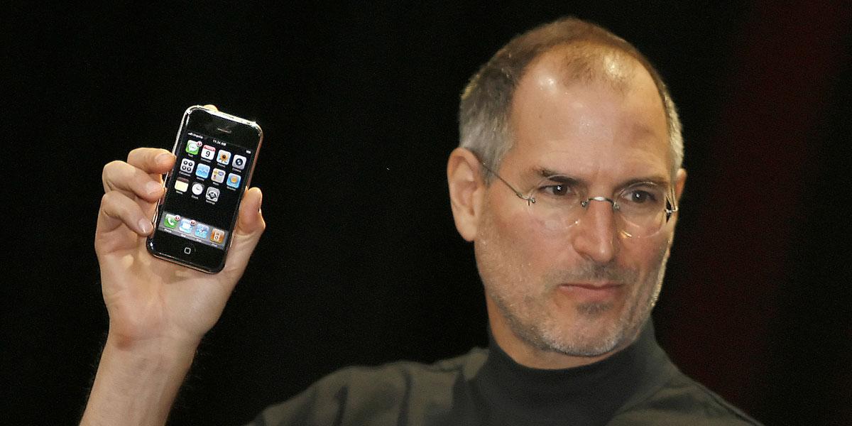 Steve Jobs reveals the original iPhone in 2007. AFP image