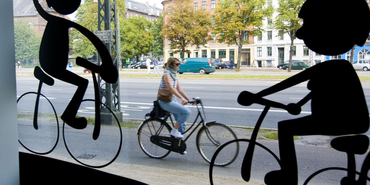 A cyclist in Copenhagen. AAP image