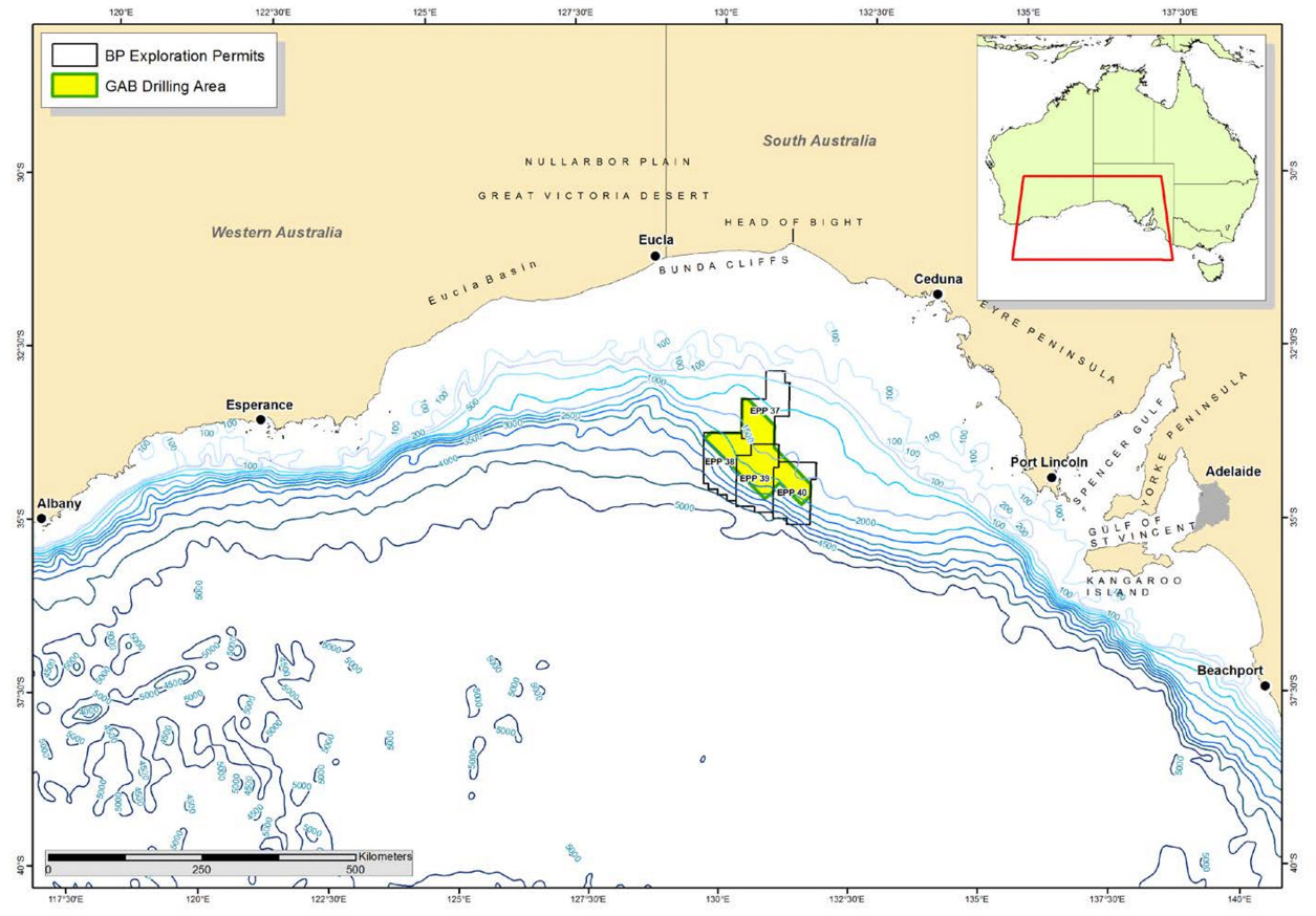 BP plans to drill for oil in an area of ocean approximately 395 km west of Port Lincoln and 340 km southwest of Ceduna in the summer of 2016-2017. Image: NOPSEMA.