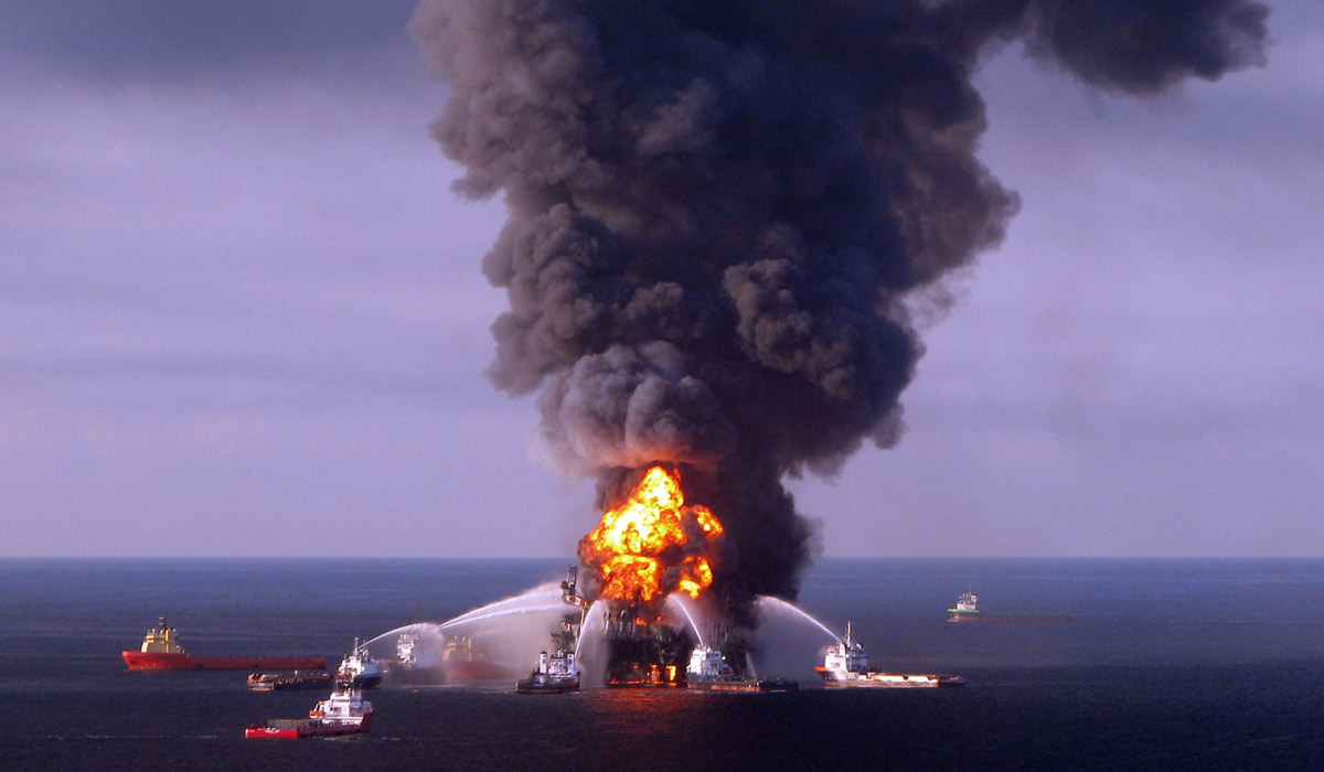 BP's Deepwater Horizon in flames during the Gulf of Mexico disaster in 2010. Photo: AFP/US Coast Guard