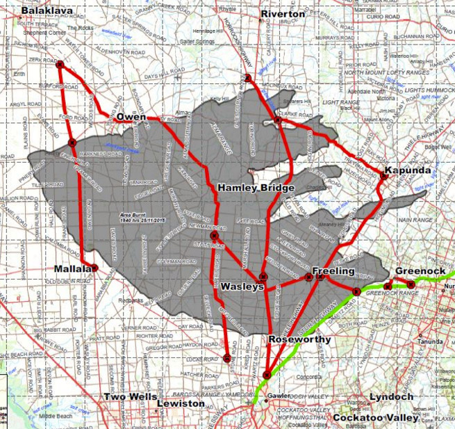 The fire ground at of 10am (grey) and closed roads (red). Image: SAPOL.