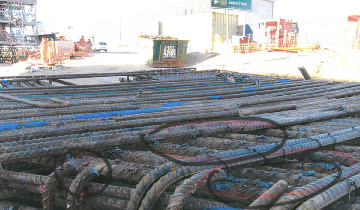 This photograph, marked with a black marker, shows what former Superway workers say is steel reinforcement bars cut with oxy acetylene torces on site.
