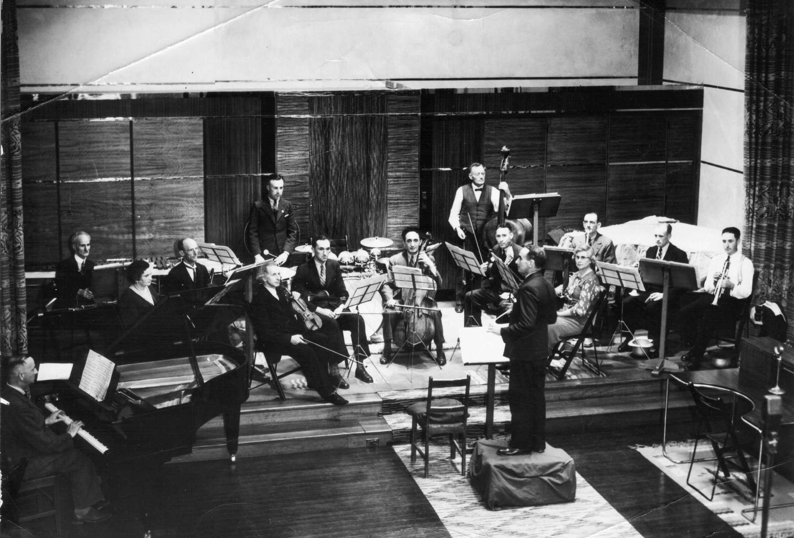 The ASO's first rehearsal at the ABC's Hindmarsh studios in 1936.