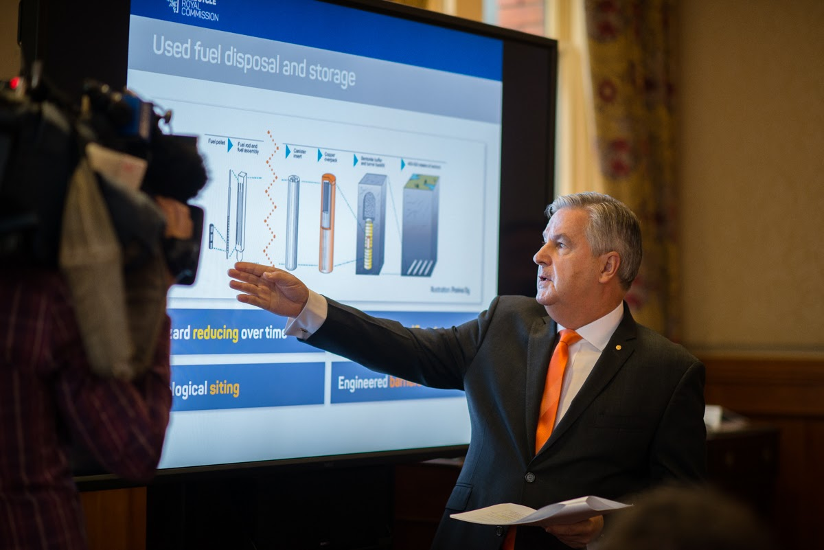Royal Commissioner Kevin Scarce explaining his findings. Photo: Nat Rogers/InDaily