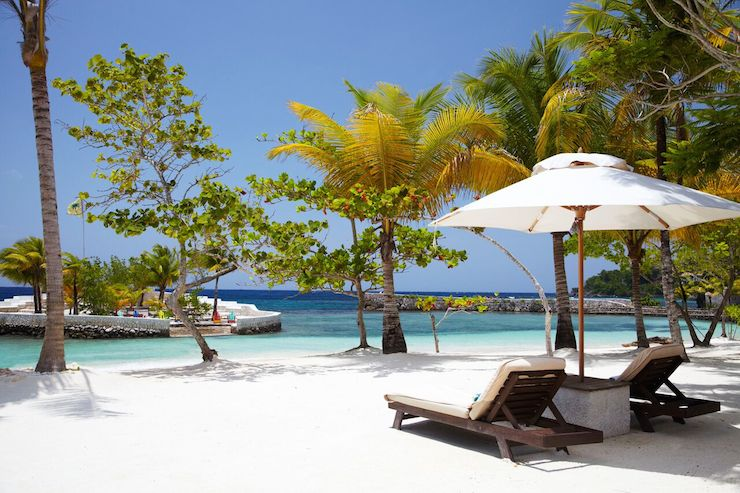 The resorts white-sand beach. Photo: Goldeneye