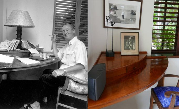 Fleming at his desk, which is still in the Goldeneye villa today (right).