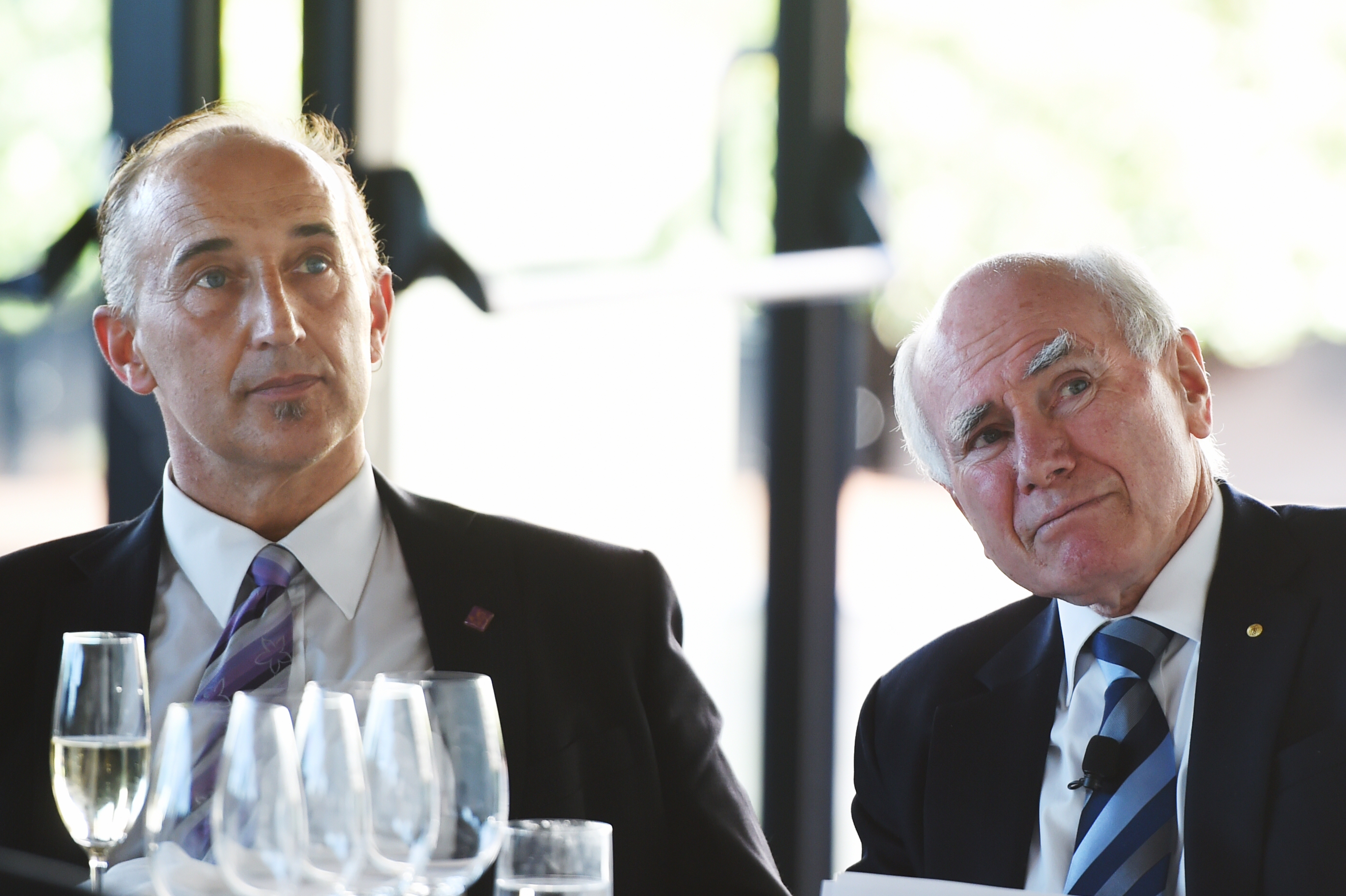 Former Australian Prime Minister John Howard (right) with Walter Mikac, who lost his wife and two daughters in the Port Arthur Massacre, at a Gun Control Australia event in 2015. Photo: AAP/Dean Lewins