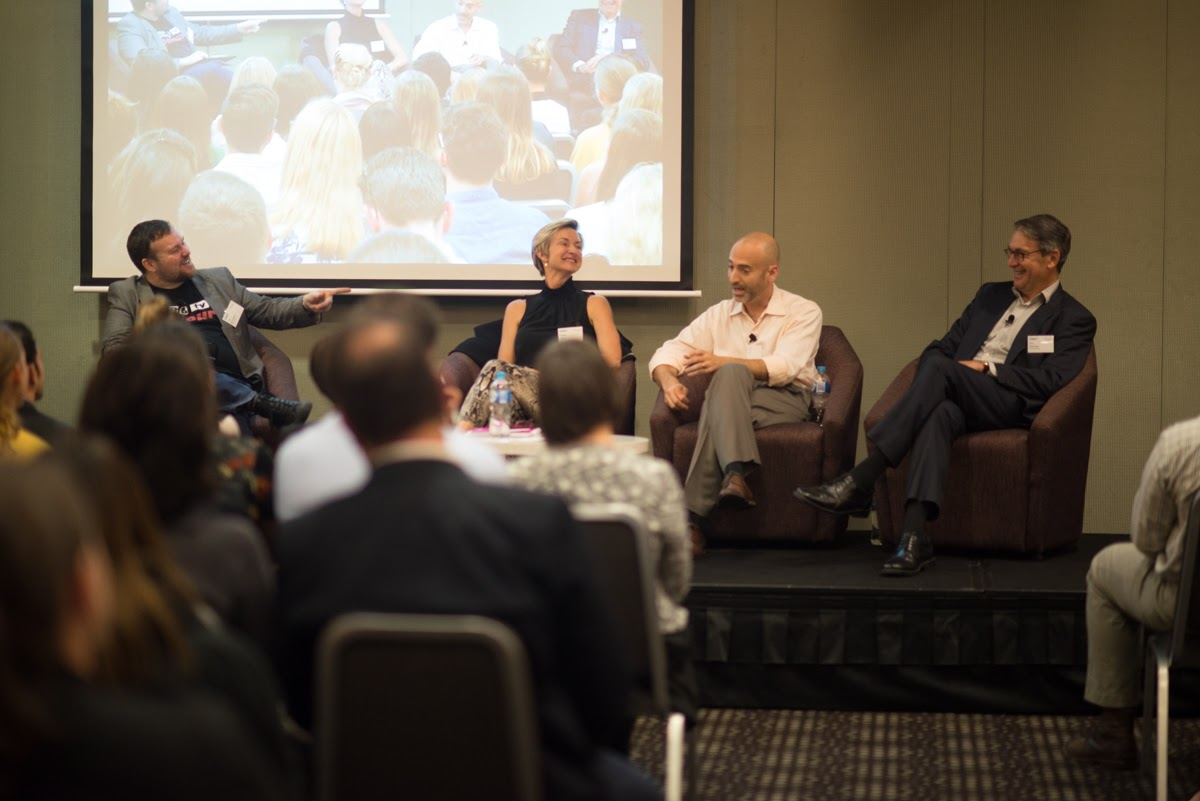 The panel at yesterday's event: (from left) Tim Burrowes, Pippa Leary, Yoav Tourel and Eric Beecher. Photo: Nat Rogers/InDaily