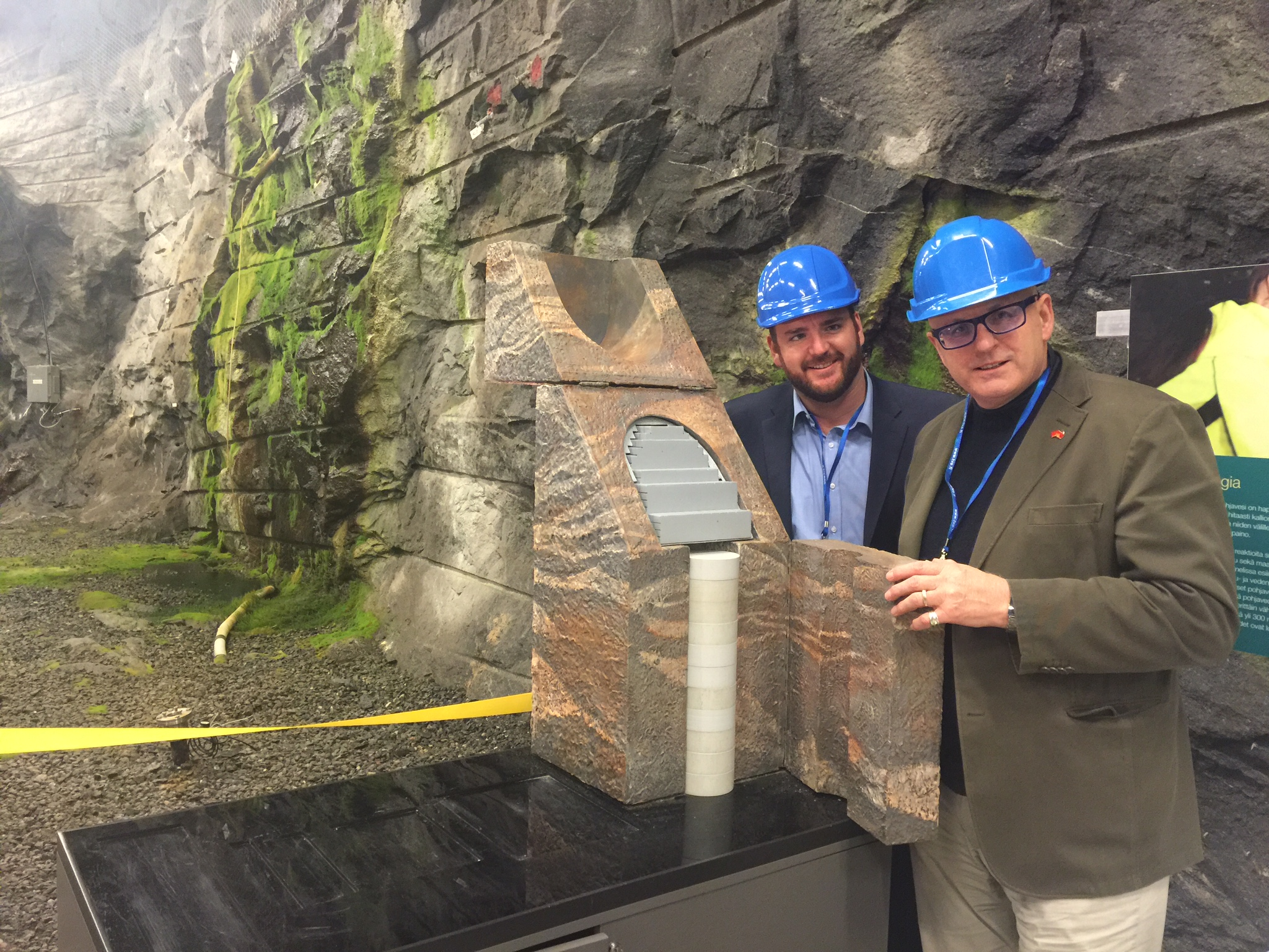 Committee for Adelaide's Matt Clemow and Business SA's Nigel McBride at a nuclear repository in Finland during the recent European delegation.