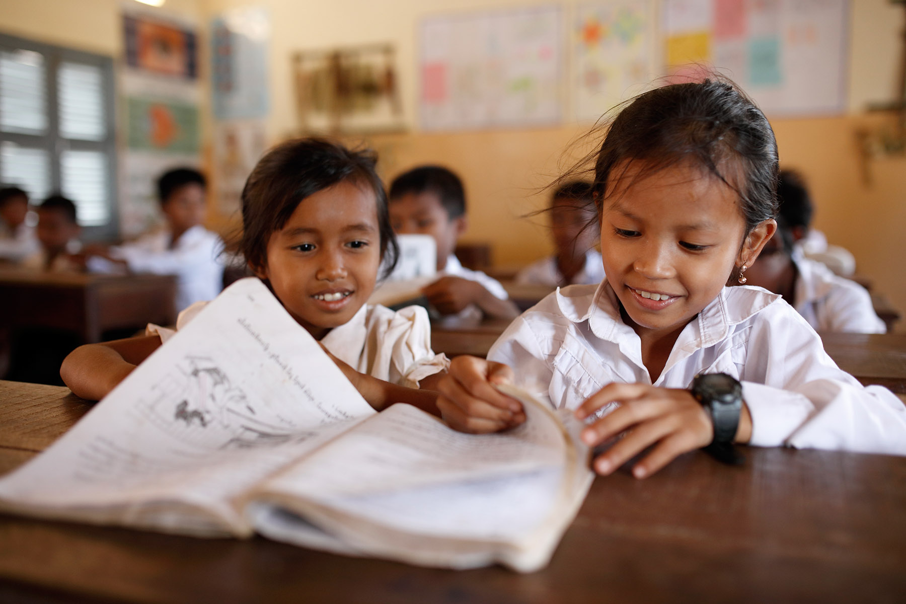In the classrooms at Sunrise's school at Kampong Speu. Photo: Tony Lewis