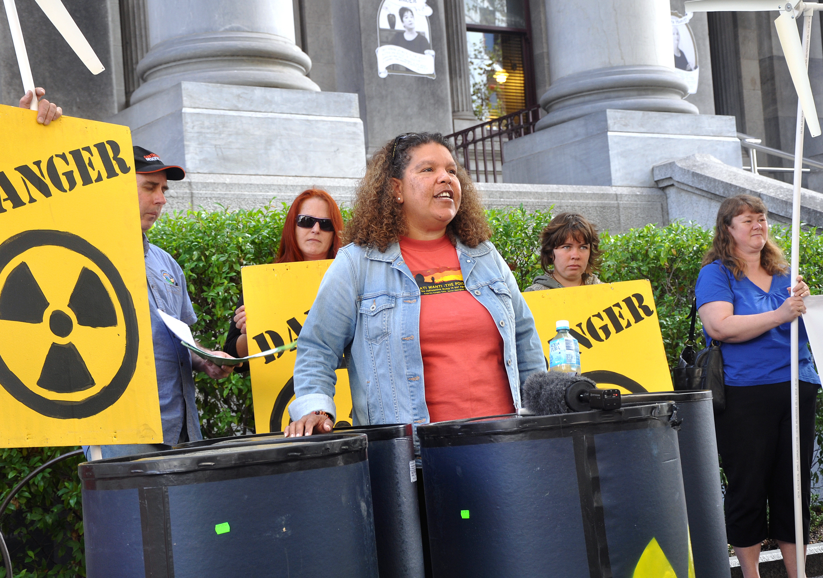 Karina Lester addresses an anti-nuclear protest outside Parliament House in Adelaide. Photo: AAP/Michael Ramsey