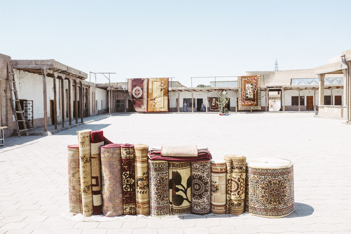 A Stack of rugs at Buchara, Uzbekistan. Photo: Ashton Papazahariakis