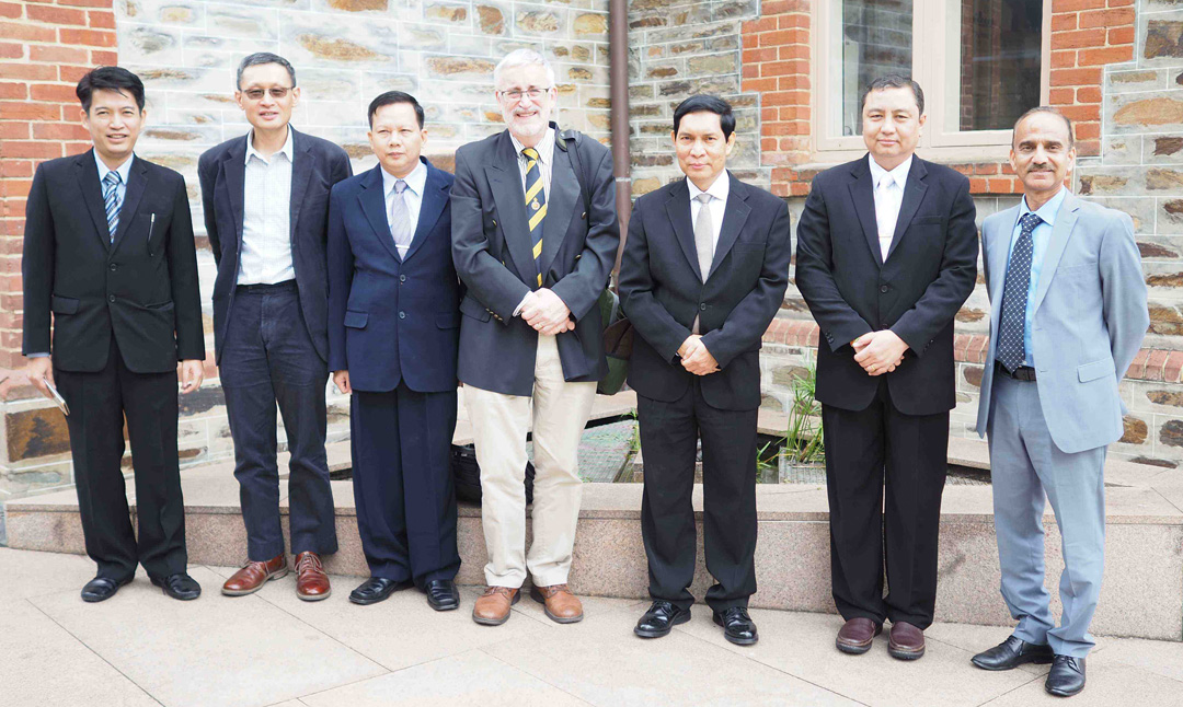 Delegation at the University of Adelaide (from left) Aung Zaw, Chen Au Peh, Ko Ko Aung, Julian White, Khin Maung Cho, Ko Ko Lwin, Afzal Mahmood