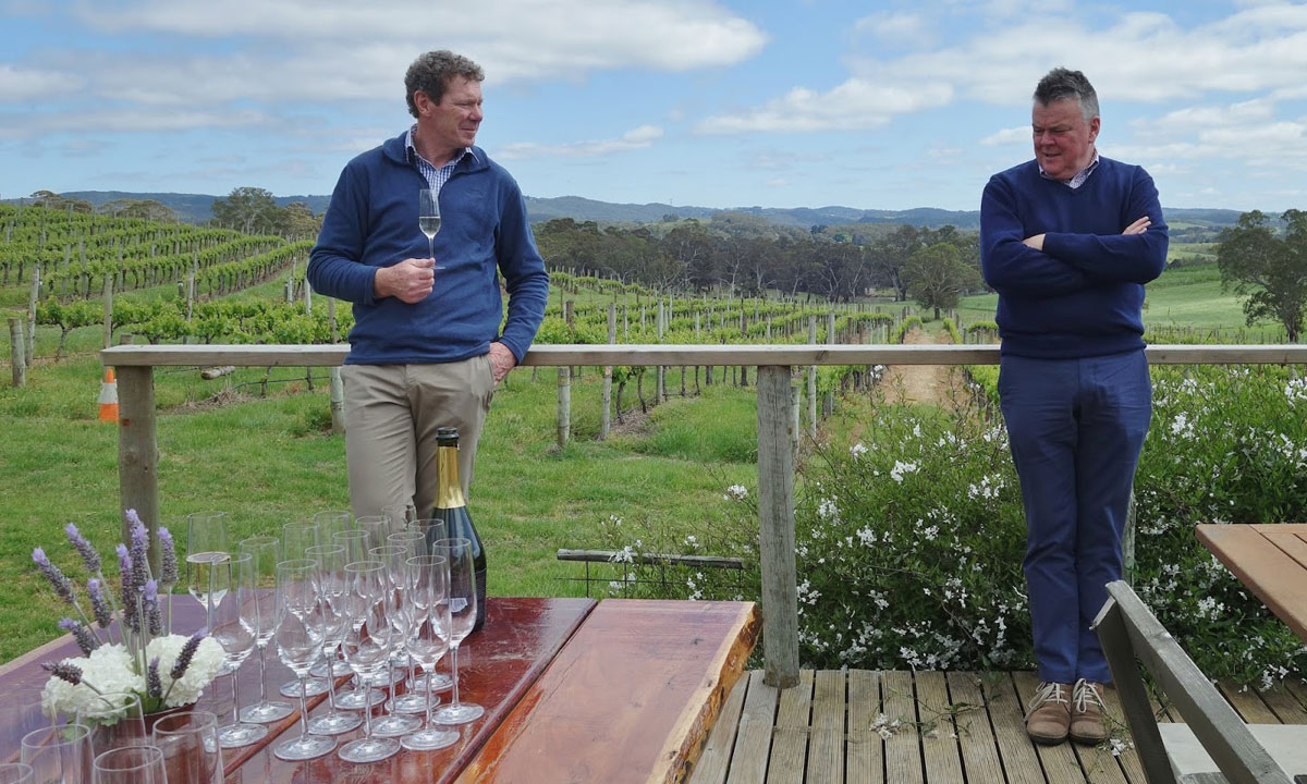 Nick Walker and David O'Leary in the Oakbank Pinot and Chardonnay vineyard. Photo: Philip White