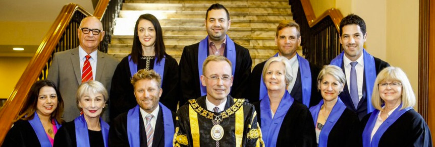 Adelaide city councillors (left to right top row) Phil Martin, Priscilla Corbell, Houssam Abiad, David Slama, Alex Antic, (left to right bottom row) Natasha Malani, Anne Moran, Sandy Wilkinson, Lord Mayor Martin Haese, Deputy Lord Mayor Megan Hender, Sandy Verschoor and Sue Clearihan. Photo: ACC